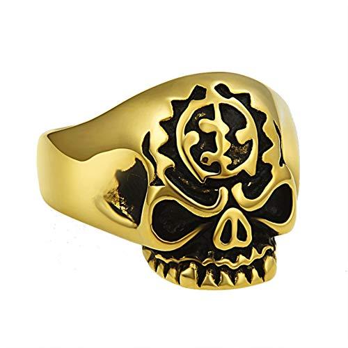 Valily mannen Punk Skull Ring Vintage Biker Skull Head Silver Tone Ring voor mannen RVS vinger Band ringen sieraden cadeau
