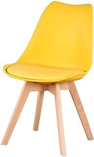 OYPY Un Conjunto de Cuatro sillas nórdicos Medievales de Estilo Retro Comedor, pies de Madera Maciza, Madera de Haya, Adecuado for la Cocina, Sala de dinings (Color : Yellow)
