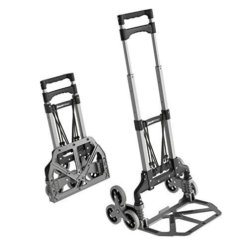 ATHLON TOOLS Carretilla plegable de aluminio especial para escaleras | zona de carga con almohadillas antideslizantes | ruedas con bandas de rodadura suaves | incl. 2 cuerdas extensibles