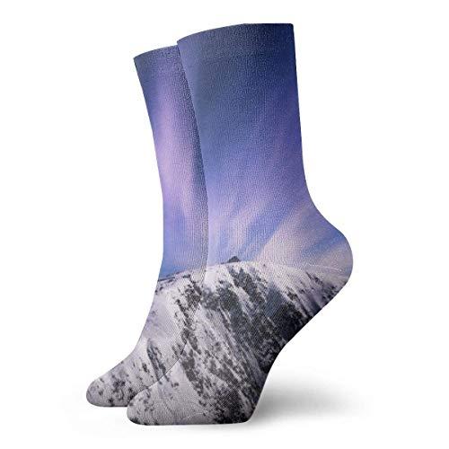 Warm-Breeze Purple Aurora Compression Socks Unisex Socks Fun Fun Crew Socks Thin Socks Short Ankle For Outdoor Athletic Moisture Wicking