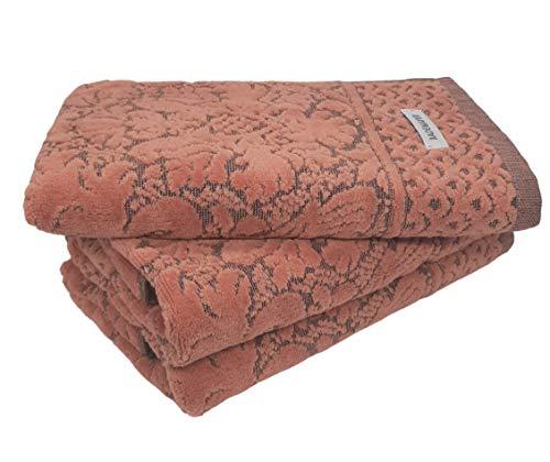 Bademayer Komfort Fusselfreies Frottier Handtuch 3er-Set aus100% brasilianischer Baumwolle extra saugstark und weich 48 x 90 cm. Premium Qualität (Terrakotta)