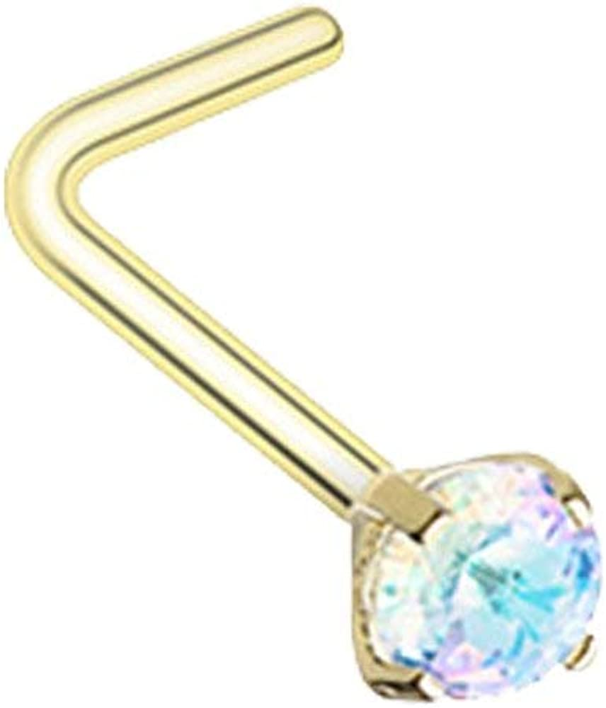 Covet Jewelry Golden Prong Set Iridescent Gem Top Steel L-Shaped Nose Ring