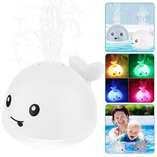 OFOCASE Spray Whale Baby Bath Toys, Whale Induction Spray Water Toy with LED Colorful Light Automatic Induction Sprinkler Bath Toy Bathtub Toys for Toddlers, Bathtime Gift for Kids & Infants (White)