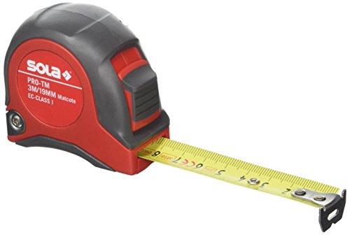 SOLA Bandmaß - PRO-TM - 3m / 19mm - robustes Profi-Rollbandmaß mit Gürtelclip - Stahlband, gelb lackiert mit mm Skala - Genauigkeitsklasse I - Rollmeter mit beweglichem Endhaken - Länge 3m/19mm