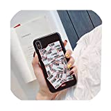 トレンドジャパンシンプルラベル電話ケースiphone Xs MAX XR X 6 6s 7 8プラスクールテキストファッションソフトシリコンバックカバーFundas、iPhone 8プラス、1