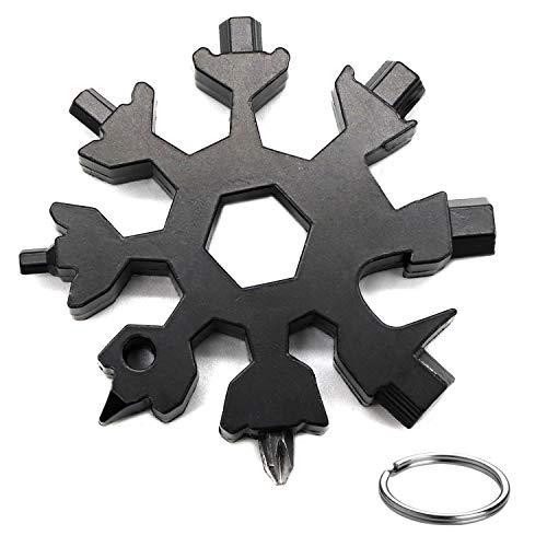 JiangLin 18-in-1 Multi-Tool Snowflake,Attrezzo Utensile Multifunzione Acciaio,InoxCacciavite Bottle Opener Keychain Chiave per Viaggi in Campeggio (Nero)