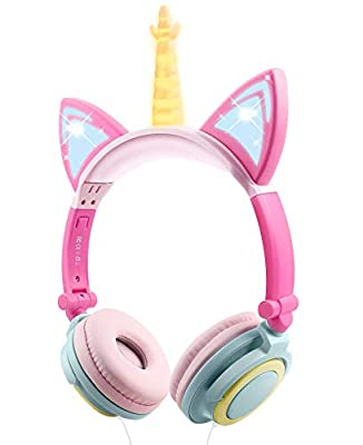 Kids Headphones, Cat Ear Wired Foldable Headphones for Kids Over-Ear/On-Ear for Boys Girls, Adjustable 85dB Volume Control, Childrens Game Headphones for School/Tablet(Yellow+Petal) by Esonstyle