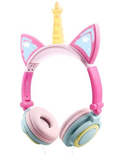 Cuffie Unicorno Bambina, Sunvito cuffie gatto orecchie led, 85dB Cuffie per Bambini Unicorno con filo, Pieghevoli cuffie bambine, Scuola, Compleanno Natale Regalo