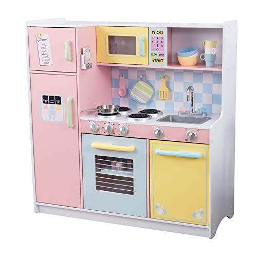 KidKraft KidKraft Wooden Large Pastel Play Kitchen with Turning Knobs,...