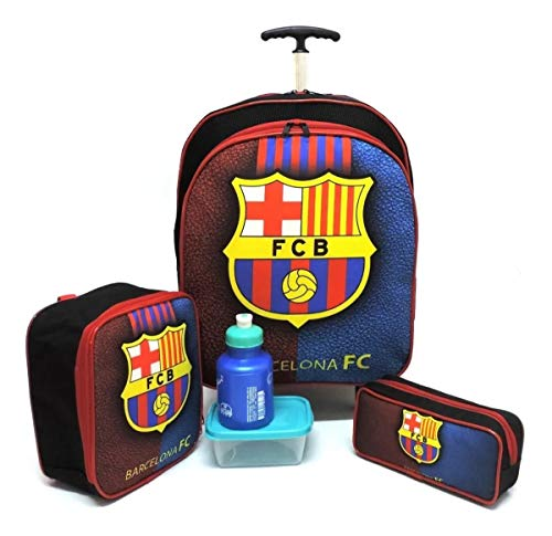 Kit Mochila Escolar Barcelona Juvenil Futebol Rodinhas G F5