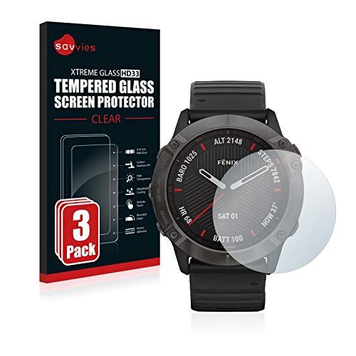 savvies Cristal Templado Compatible con Garmin Fenix 6X Pro (3 Unidades) Protector Pantalla Vidrio Proteccion 9H Pelicula Anti-Huellas