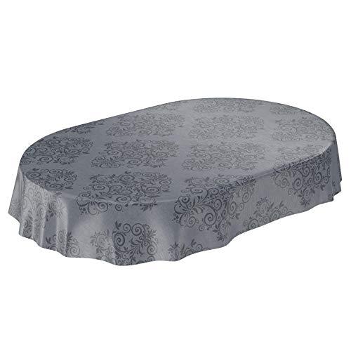 ANRO Wachstuchtischdecke Wachstuch Wachstischdecke Tischdecke abwaschbar Ranken Barock Arabeske Anthrazit Oval 140 x 180cm
