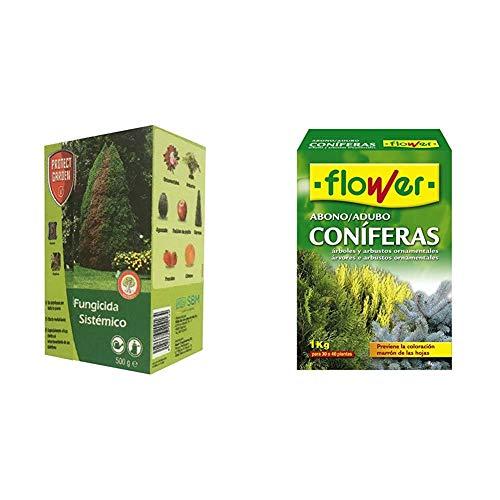 PROTECT GARDEN Fungicida sistémico Aliette WG para cesped y coniferas, 500gr, Verde Agua, 500 Gramos + Flower 10518 10518-Abono coníferas y arbustos, 1 kg, No Aplica, 7x18x25.5 cm