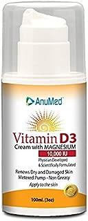 AnuMed Vitamin D3 Cream with Magnesium 10,000 IU   Healthy Skin Care & Face Cream   Maximum Calcium Absorption   Non-Greasy Moisturizer for Dry Skin - 3 Ounces
