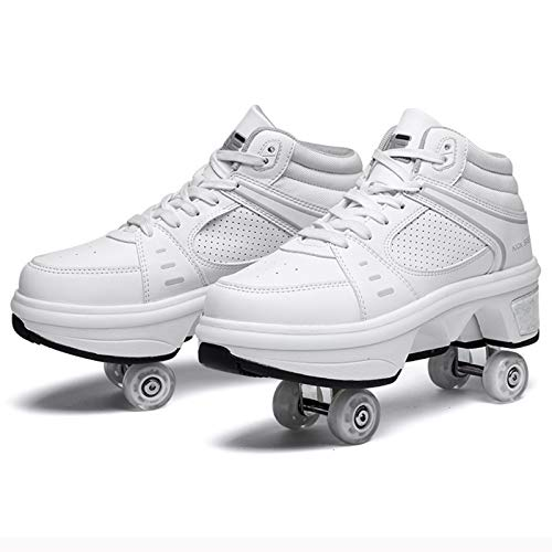 Deformations-Rollschuhe, Glow 2 in 1 Double Row Invisible Pulley Skates, Weiß,39