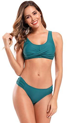 SHEKINI Damen Zweiteiliger Bikini Set U Ausschnitt Weste Bikini Oberteil Low Waist Bikinihose Zurück Schnüren Sportlich Bademode Verdrehte Tassen Gepolstert Strandmode