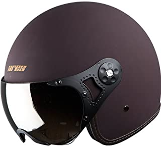 Steelbird Ares A-5 Aviator Open Face Helmet for Professional or Cruiser Bike Rider's (Large 600 MM, Royal Brown with Gold Visor)