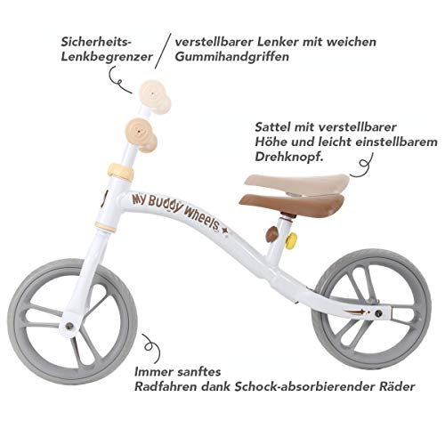 Yvolution My Buddy Wheels Dino Unicorn Horse Balance Bike with Plush Toy   Training Bicycle for Toddlers Age 2 Years + (Dino)
