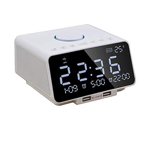N /A Reloj Despertador, Radio Digital controlado con Puerto USB con Altavoz Bluetooth Pantalla Digital LED Decoración de Arte para el hogar