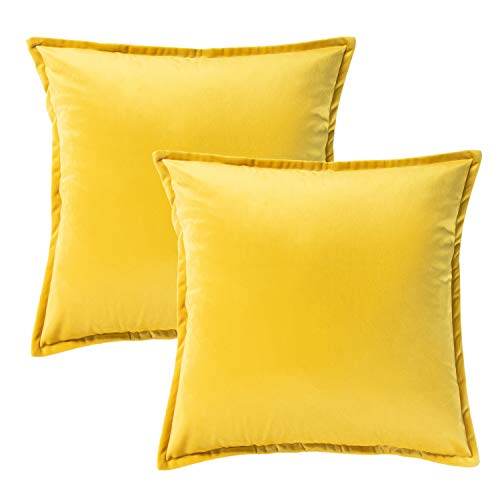 Bedsure Velvet Cushion Cover 2 Pack Yellow Decorative Pillowcases for Sofa and Couch, 45cm x 45cm (18in x 18in)