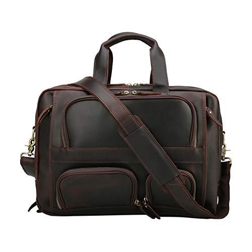 TIDING Herren Rindsleder Laptoptasche Büro Aktentasche Messenger Umhängetasche für Männer Computertasche Umhängetasche 15,6 Zoll Travel Business Large (Brown3)