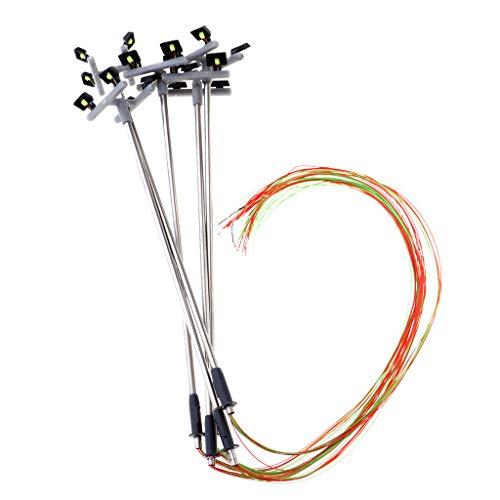 FLAMEER Mini Modelos de Poste de Luz LED de 1/100 Escala Accesorios para Modelismo Diseño Layout Diorama de Calle Parque - 120mm