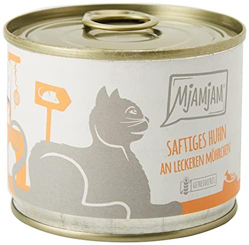MjAMjAM Mangime Umido per Gatti, Pollo Succoso Accompagnato da Deliziose Carotine con Erba Gatta, senza Cereali - Pacco da 6 x 200 g