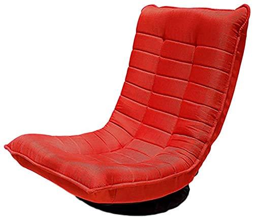 Lazy Chair, Lazy Sofa Single Draaistoel Balkon Woonkamer Slaapkamer Mini Floor Sofa Kleine Tatami Rugleuning Opvouwbaar Single + (Kleur: Rood.)