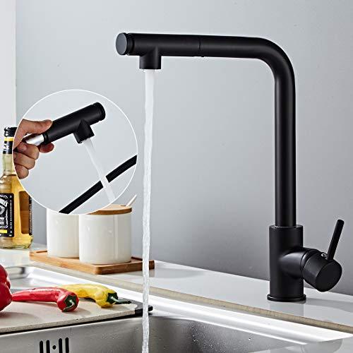 Morotel Schwarz Küchenarmatur 360 ° drehbarer ausziehbarer Wasserhahn Küchenmischer Wasserhahn Küchenarmatur Küche