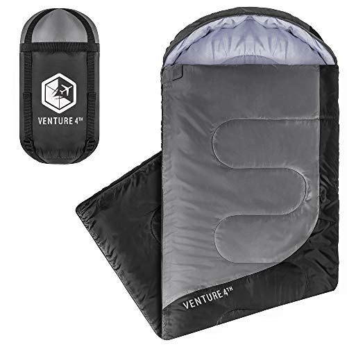 VENTURE 4TH Summer Sleeping Bag, Single, Regular Size - Lightweight, Comfortable, Water Resistant Backpacking Sleeping Bag for Adults & Kids - Ideal for Hiking, Camping & Outdoor - Black/Silver