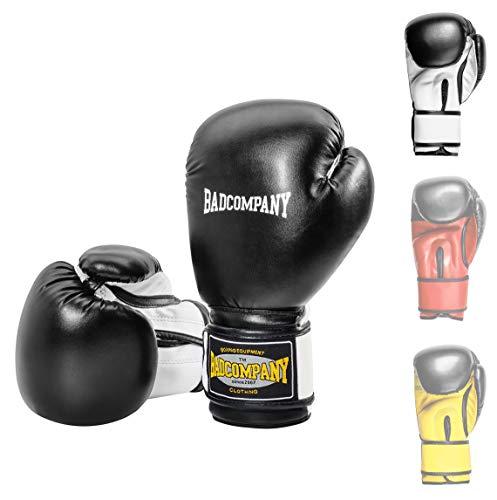Bad Company Boxhandschuhe White Tiger aus Kunstleder mit Belüftungssystem und breiter Box-Bandage mit Klettverschluss in verschiedenen Farbkombinationen für das Boxtraining, Sparring und Kickboxen I Gewichtsklassen 10 oz