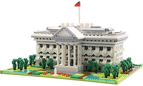 hsj LF- Modellbausätze, Micro-Diamant-Bausteine, Landmark Building Set Architecture Weißes Haus Micro Block, 3D-Modell DIY Spielzeug, Kinder und Erwachsene Weihnachten Lernen