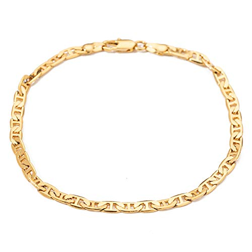 kelistom 18k Gold Plated Flat Mariner Link Chain Anklet 4.2mm Wide 9 10 11 inches Ankle Bracelet for Women Teen Girls 11 Inches