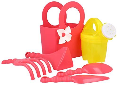 com-four Juego de Juguetes de jardín de 6 Piezas para niños - Juego de jardín - Juguetes de Playa - Herramientas de Juego para el jardín (Rosa/Amarillo)