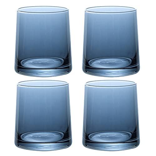 Zodensot Juego de vasos de whisky de 4 a 10 onzas premium sin plomo, cristal de whisky, estilo roco, para beber whisky, bourbon, coñac, whisky irlandés y cócteles de moda antigua, color gris)