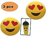 ML Pack 2 x Cojín Emoji Ojos Corazon + un Vaso Emoticono con Pajita. Almohada Emoji Emoticon Relleno Suave Juguete de Peluche 35x35x5cm Cada uno