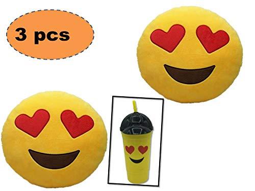 ML Pack 2 x Cojín Emoji Ojos Corazon + un Vaso Emoticono con Pajita. Almohada Emoji Emoticon Relleno Suave Juguete de Peluche