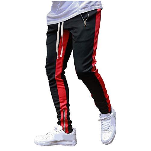 Aiserkly Pantalones cómodos para el tiempo libre, para hombre, pantalones de ocio, perneras estrechas, con cremallera, pantalones chinos, pantalones de deporte, pantalones de chándal XXL