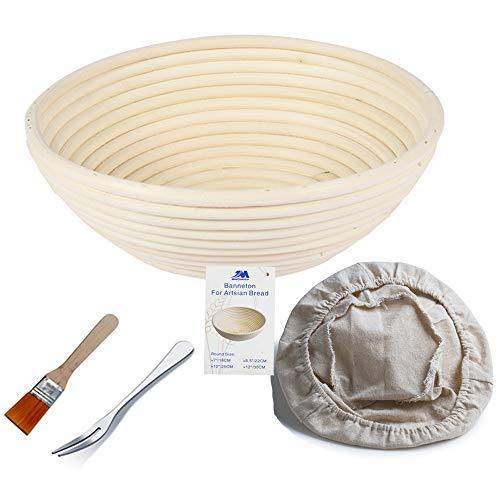 Banneton Banneton Brotform rotondo per pane e impasto [spazzola gratuita] Ciotola in rattan per rialzo (750 g) + rivestimento incluso + forchetta da pane in omaggio…