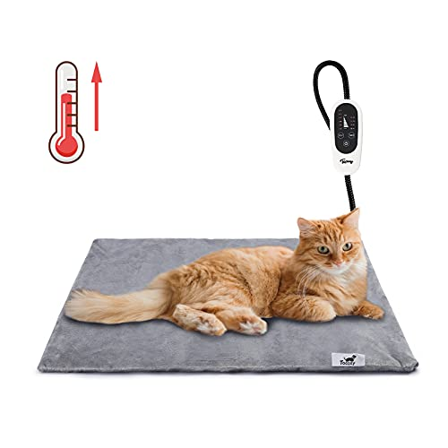 Toozey Pet Heating Pad, Temperature Adjustable Dog Cat Heating Pad with Timer