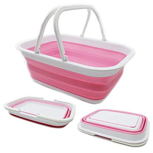 SAMMART 9,2 l Faltbare handliche Wanne- tragbarer Picknickkorb/Krater - Faltbare Einkaufstasche - platzsparender Aufbewahrungsbehälter (Weiß/Pink)