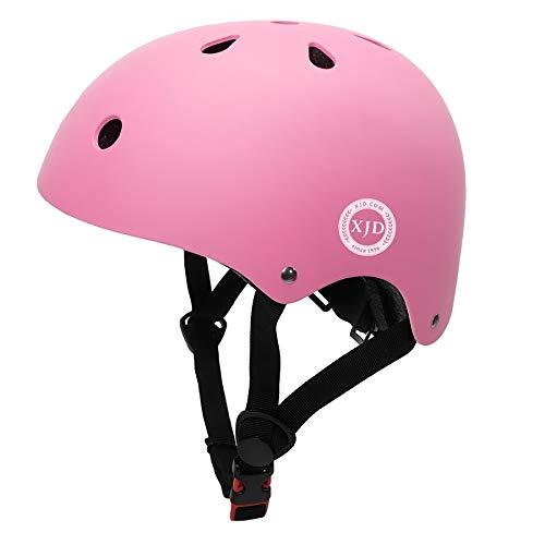 XJD ヘルメット こども用 幼児 子供 軽量 通気性 スポーツ ヘルメット 自転車 サイクリング 通学 スキー スケートボード 保護用ヘルメット (S(48cm-54cm), ピンク)