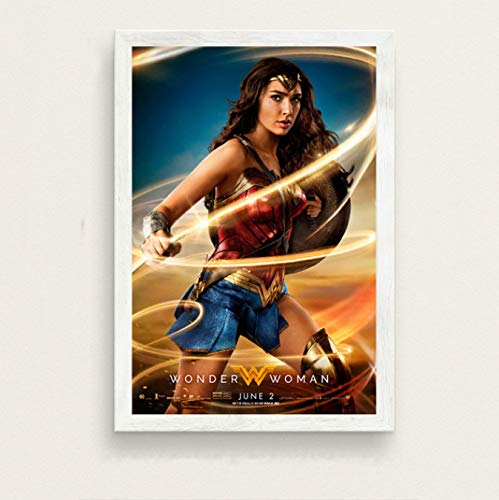 Fymm丶shop GAL Gadot Wonder Woman Hot Superhero Movie Art Seda Pintura sobre Lienzo Cartel De La Pared Decoración para El Hogar 50X70Cm