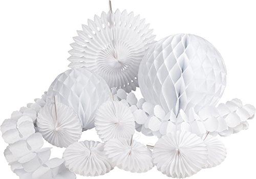 HEKU 30008-06: Party-Deko-Set mit Wabenbällen, Dekofächern und einer Girlande aus Papier, 10-teilig, weiß