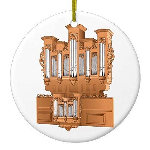 DKISEE Christmas Hanging Ornament Pipe Organ 3 Inch Circle Ceramic Ornament Keepsake Decorative Christmas Tree Hanging Ornament