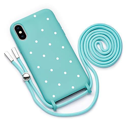 QULT Funda con Cuerda Compatible con iPhone XR Carcasa de movil con Colgante Cadena Suave Silicona Necklace Bumper Case Turquesa Motivo Puntos Blancos