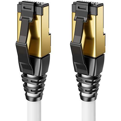 deleyCON 2m CAT8 Patchkabel Netzwerkkabel RJ45 LAN DSL Kabel Halogenfrei S/FTP Schirmung 2000MHz 40Gbit CAT.8 Ethernet Kabel RJ45 Stecker vergoldet - Weiß