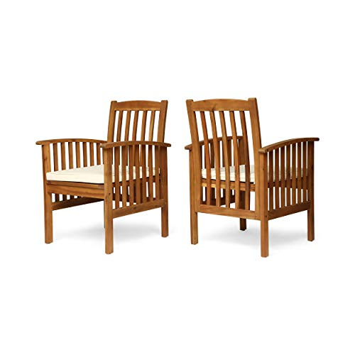 Great Deal Furniture Phoenix Acacia Patio Dining Chairs, Acacia Wood with Outdoor Cushions, Brown Patina and Cream (Set of 2)