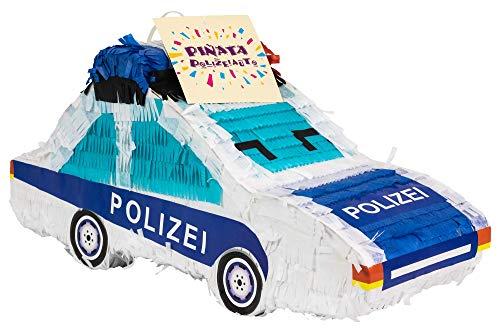 Trendario Pinata Polizei Auto, Ideal zum Befüllen mit Süßigkeiten und Geschenken - Piñata für Kindergeburtstag Spiel, Geschenkidee, Party, Hochzeit