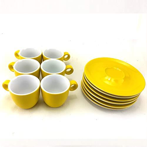 Juego de 6 Tazas para Espresso de Porcelana con Platos, Capacidad 60ml, Color Amarillo, ideal para café sólo
